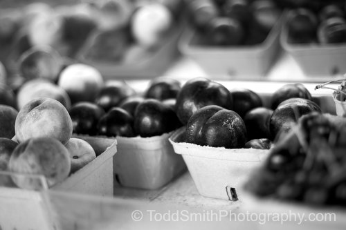 Black and White Photograph of Apricots and Peaches for Sale at a Fruit Stand