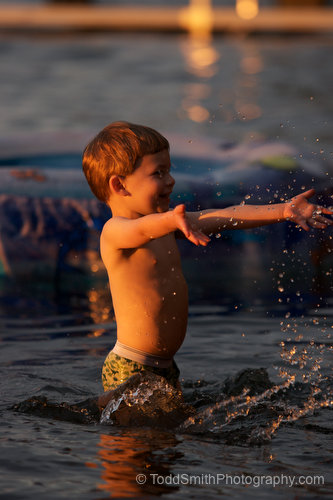 Splashing in the water