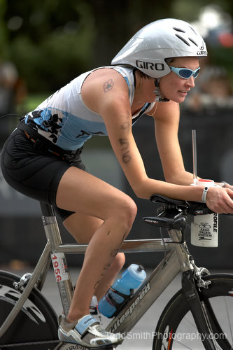 A biker sets her eyes on the goal as she begins the biking portion of the Subaru Ironman Canada.