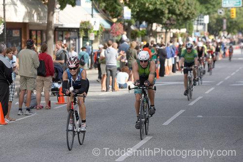 Bikers start the second leg of the 2008 Subaru Ironman Canada on Main Street in Penticton, BC.